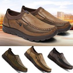 Mens Summer Leather Casual Shoes Breathable Antiskid Loafers