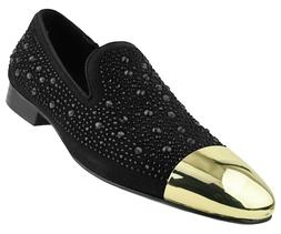 Asher Green Mens Tonal Crystal Covered Suede Gold Cap-Toe Dr