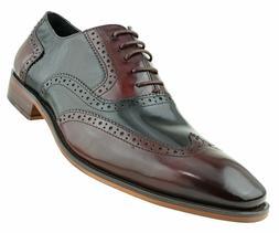Asher Green Mens Two Tone Black & Burgundy Genuine Leather W