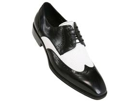 Asher Green Mens Two Tone Black & White Leather Wingtip Oxfo