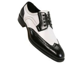 Bolano Mens Two-Tone Black & White Smooth Dress Shoe w/ Wing