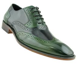 Asher Green Mens Two Tone Green & Black Genuine Leather Wing