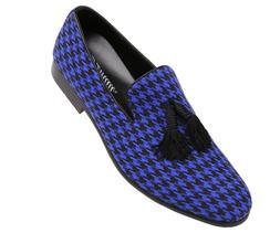 Amali Mens Two Tone Houndstooth Smoking Slipper Dress Shoe :