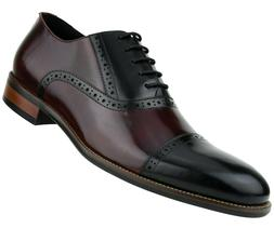 Asher Green Mens Two Tone Stitched Leather Cap Toe Oxford :