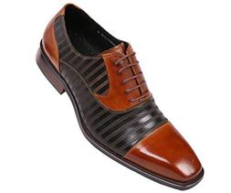 Asher Green Mens Two-Tone Zig Zag Stitched Leather Cap Toe,