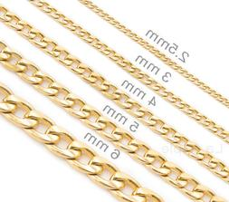 Mens womens kids 14K Gold Plated Stainless Steel Necklace Cu
