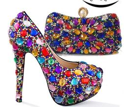 Multicolored Crystals High Heels With Matching Bags Wedding