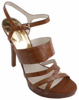 Michael Kors Nadja Platform Womens Walnut Embossed Leather D