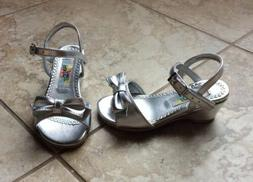 NEW $28 RACHEL BABY TODDLER GIRL SIZE 8 SILVER DRESS SHOES S