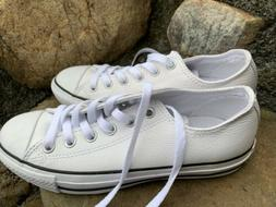 New Converse All Star Shoes Size 7M/37.5 White Leather Boho