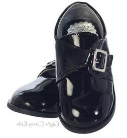 New Baby Toddler Boys Black Shiny Dress Shoes Wedding Formal