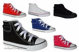 New Boys Girls Youth Canvas High Top Tennis Shoes Lace Up Sk