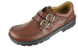 NEW BIRKENSTOCK Brown Grainy Leather Doublestrap Monk Shoes