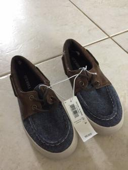 New Old Navy Canvas Denim Boat Shoes Dress Casual Boys Size