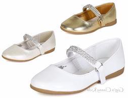 New Girls Gold White Shiny Ivory Dress Shoes Flats Rhineston