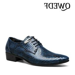 QWEDF New Imitate Snake Leather Men Oxfords Lace Up <font><b