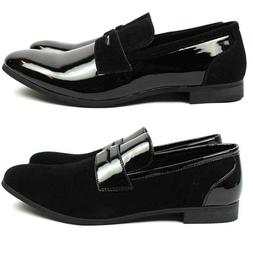 New Men Black Tuxedo Shoes Slip On Patent/Suede Leather Dres