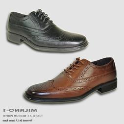 BRAVO New Men Dress Shoe MILANO-1 Classic Square Toe Wingtip