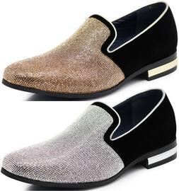 New Men Dress Shoes Rhinestone Diamond Loafers Slip On Class