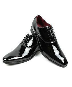 NEW Men Dress Tuxedo Shoes Black Round Toe Patent Shiny Lace