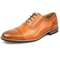 New Men's Brown Dress Shoes Cap Toe Lace Up Oxfords Leather