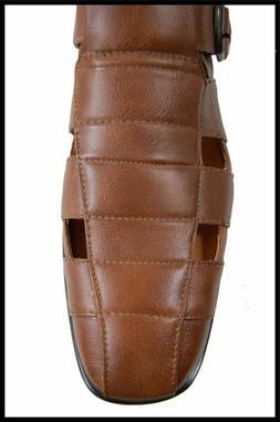 New Amali Men's Dress Sandals Black, Cognac Faux Leather wit