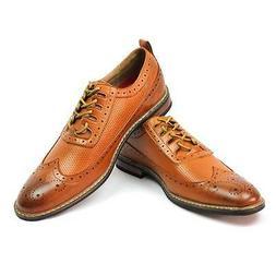 New Men's Dress Shoes Brown/cognac Wing Tip Block Hill Lace