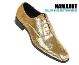 Closout size 15 New Men's Sequin Gold Black Dress Shoes Prom