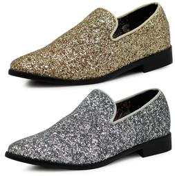 New Men Vintage Glitter Stage Dress Shoes Tuxedos Loafers Sl