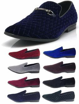 New Men Vintage Velvet Dress Shoes Tuxedos Loafers Slip On C