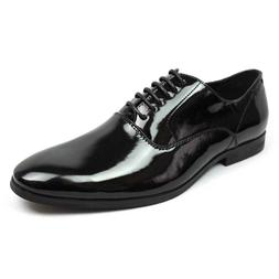 New Mens Black Tuxedo Round Toe Dress Shoes Lace Up Oxfords