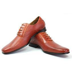 New Mens Ferro Aldo Cognac Herringbone Dress Shoes Leather S