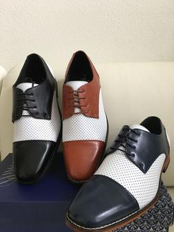 Amali New Mens Dress Shoes Two Tone Oxford Wedding Prom Tuxe