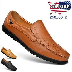 New Men's Driving Moccasins Shoes Leather Loafers Slip Com