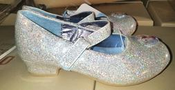 NEW! Toddler Disney Frozen Dress Heel Shoes - Silver Glitter