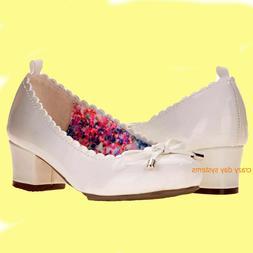NEW Wonder Nation White Premium Dress Pumps Shoes Size 7 8 T