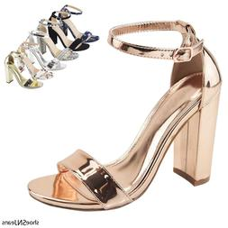 New Women Fashion Ankle Strap Band Chunky Block High Heel Dr