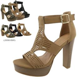 New Women  Gladiator Platform Sandals Chunky High Heel Open