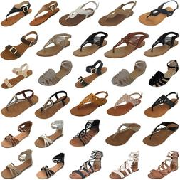 New Women Gladiator Sandals Shoes Thong T Strap Flat Size St