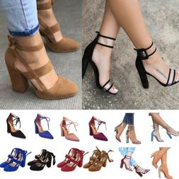 New Women High Heels Strap Ankle Block Sandals Chunky Party