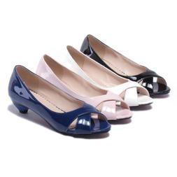 New Women Kitten Heel Pumps Slip On Peep Toe Ladies Office D