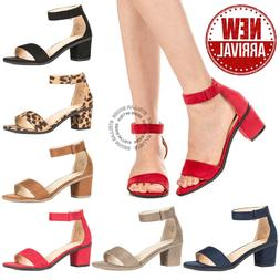 New Women's Ankle Strap Chunky Pump High Heel Sandals Party