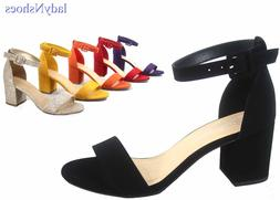 NEW Women's Color Ankle Strap Chunky Low Heel Dress Sandal S