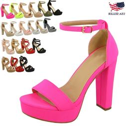 New Women's Ankle Strap Fashion Platform Chunky Sandals Part