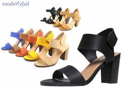 NEW Women's Open Toe Chunky Heel Ankle Strap Dress Sandal Sh