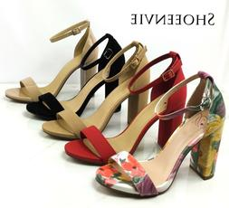 New Women Shiner Open Toe Ankle Strap Single Band Chunky Hee