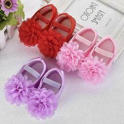 Newborn Toddler Infant Baby Girls Flower Soft Sole Shoes Fom