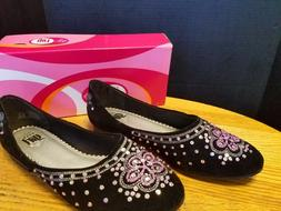 NIB Ladies Elle Girl Black Flat Dress Shoes Velvet w Pink gl