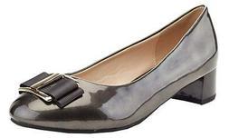 NIB Lady Godiva Elena Women's Low Block Heel Pewter Pantent