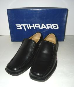 "NIB Graphite ""Simon"" Boys Leather Slip-On Dress Shoe Black S"